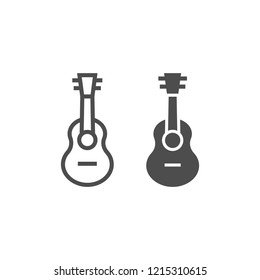 Ukulele line and glyph icon, music and string, guitar sign, vector graphics, a linear pattern on a white background, eps 10.