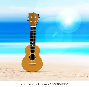 Ukulele on the beach, against the background of the sea or ocean. Vector illustration in a tropical style.
