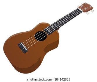 Ukulele -  Vector Artwork (isolated on white background).