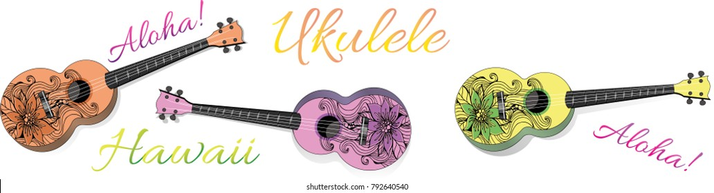 Ukulele vector realistic illustration, different colors, floral pattern, small soprano ukulele logo for music shop or web. Hawaiian guitar, national musical instrument.