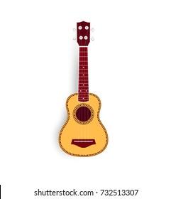 Ukulele vector realistic illustration, yellow small soprano ukulele logo for music shop or web. Hawaiian guitar, national musical instrument.