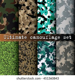 Ultimate camouflage set of 8 seamless tileable various camo patterns vector