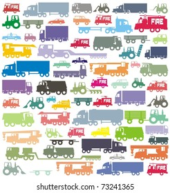 The ultimate car traffic colorful vector illustration collection