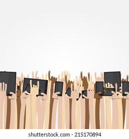 Ultimate Cartoon Arms Collection - Crowd of caucasian, asian and dark-skinned people put their arms and hands up int the air, some of them holding digital devices like cell phone or tablet