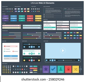 Ultimate dark web UI elements | UI Mega Collection | flat design web elements: Icons, web forms, button, check box, radio button, switch button, Tab & accordions, media player, pagination and so on
