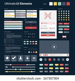 Ultimate dark web UI elements | responsive websites, mobile apps & user interface | UI Mega Collection | flat design web elements: Icons, web forms, button, check box, radio button and so on