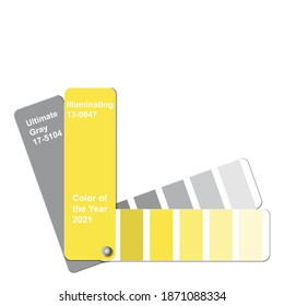 Ultimate Gray and Illuminating, Color of the Year 2021, trend colour palette sample swatch book guide, stock vector illustration clip art template isolated on white background