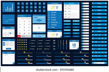 Ultimate Mobile Retina ready ui kit   Mobile application design flow - elements: header, icon button, app, slider, scroll, notes - flat Mobile web Ui elements for mobile or tablet and web application