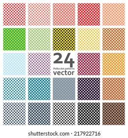 Ultimate polka dot set 24 patterns vector