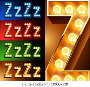 Ultimate realistic lamp board alphabet. Condensed style. Left and right options. Multicolored. Letter z