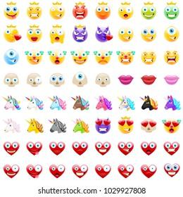 Ultimate Set of Modern Emojis, Emoticons Realistic Vector Illustration Symbols. Variety of Emotions. Clowns, Cyclops, Devils, Lips, Skulls, Unicorns, Hearts, Crown on Smileys