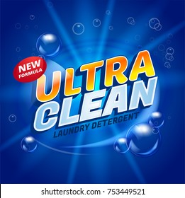 Ultra clean design product package template. Toilet or bathroom household cleanser. Wash soap background design. Washing machine Laundry detergent ads. Vector stock illustration