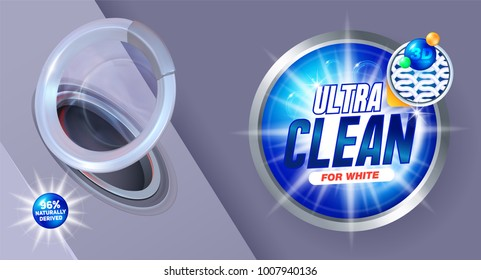Ultra clean washing template, for laundry detergent packaging and design liquid detergents. Vector illustration