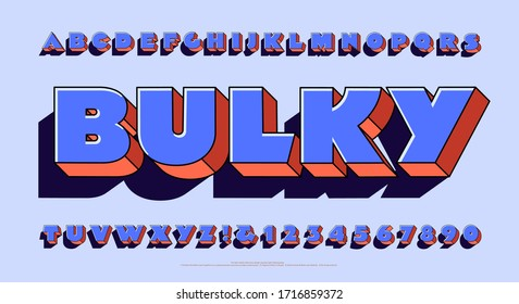 An ultra fat and bulky alphabet. This font is extra bold and has 3d depth effects and a dark cast shadow. Stylish hipster letters with harmonized colors in violets and pastel orange hues and shades.