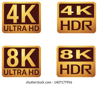 ULTRA HD and HDR TV sign on white background