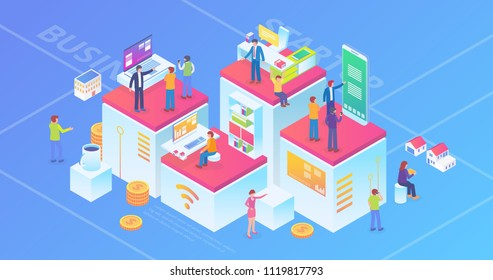 Ultra HD Resolution Technology Startup Company Isometric Composition Background Concept With People and Digital Related Asset Illustration