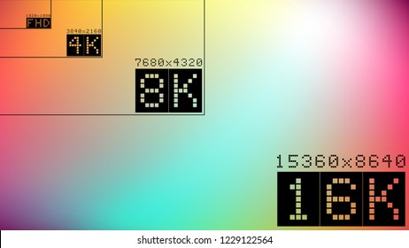 Ultra high  resolution 16k comparison mock up with abstract tv background image. 8k 4k 2k full hd ultra hd scale frame