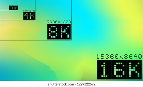 Ultra high  resolution 16k comparison mock up with abstract tv background image. 8k 4k 2k fullhd ultrahd scale frame
