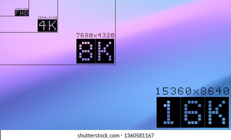 Ultra high  resolution 16k comparison mockup with abstract tv background image. 8k 4k 2k fullhd ultrahd scale frame Vector background. Fluid wavy backdrop
