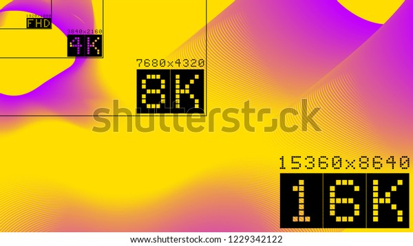 Ultra High Resolution 16k Comparison Mock Stock Vector