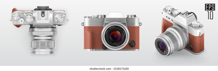 Ultra realistic 3d isometric camera set. With brown leather part. Retro style photo camera. Top front and 3d view vector illustration