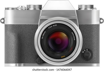 Ultra realistic 3d SLR retro style photo camera. With leather part. Front view isolated on white background. Vector illustration