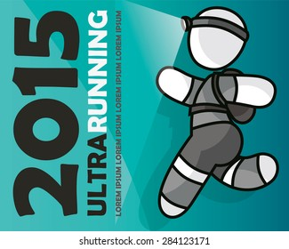 Ultra runner with full equipment running a long run. Vector illustration created by Laco Novotny.