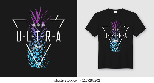 f15b3c21 Stylish t-shirt and apparel modern design with neon style pineapple,