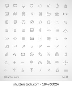 Ultra thin icons. Simple line icons on white background. Thin Icons Set 01.