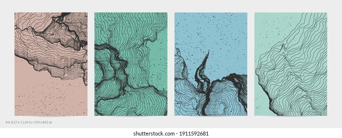 Ultra thin line net shape. Abstract 3D computer modeling science geometry. Futuristic sound wave interacting with random particles. Mold growing texture on flat earthly colored background.