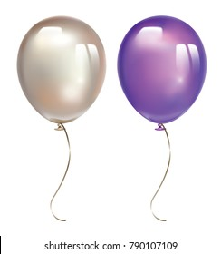 Ultra violet balloon and pearl balloon with reflects isolated on white background. Inflatable air flying balloon realistic 3D  vector illustration.