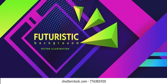 Ultra violet geometrical abstract background modern hipster futuristic graphic. Purple background with pink and green lines. Neon Poster Retro Disco 80s. Vector illustration.