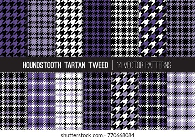 Ultra Violet Houndstooth Tartan Tweed Vector Patterns. High Fashion Textile Textures. Set of Dogs-tooth Check Fabric Backgrounds. 2018 Color of the Year. Pattern Tile Swatches Included.