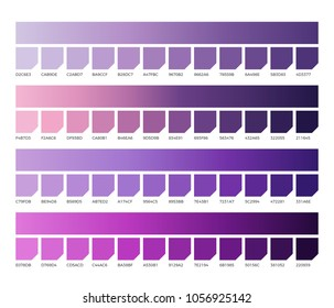 Ultra violet pantone color vector swatches. Colors of 2018. Violet swatch color, purple and ultra violet, lavender colored illustration