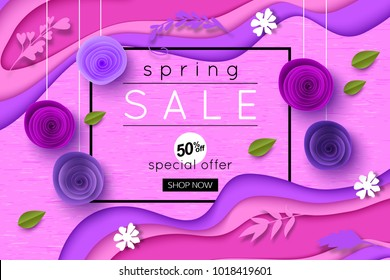 Ultra Violet Spring Sale Background with paper style flowers leaves  and shapes, vector illustration