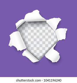 Ultra violet torn paper with ripped edges and rooled up sides, round shaped hole isolated on transparent background realistic Vector illustration