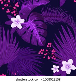 Ultra violet tropical palm leaves seamless pattern design for paper or textile. Trendy, exotic, jungle plants and flowers background inspired by color of the year 2018