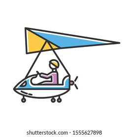 Ultralight aviation color icon. Micro lighting. Air extreme sport. Microlight trick. Adrenaline recreation. Stunt flying. Ultra light aeroplane flights. Isolated vector illustration