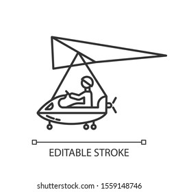 Ultralight aviation linear icon. Micro lighting. Air extreme sport. Microlight trick. Adrenaline recreation. Stunt flying. Ultra light aeroplane flights. Vector isolated drawing. Editable stroke