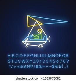 Ultralight aviation neon light icon. Micro lighting. Air extreme sport. Microlight trick. Stunt flying. Ultra light aeroplane flights. Glowing alphabet, numbers. Vector isolated illustration