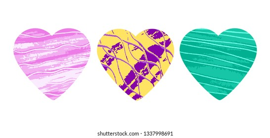 Ultramodern bright catchy colors heart logo set. For a bold, modern trendy cool luxury design 1