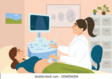 Ultrasonography of pregnant woman in hospital. Gynecologist doctor examine female patient with ultrasonic equipment in clinic. Image of child embryo on monitor. Pregnancy consultation. Vector flat