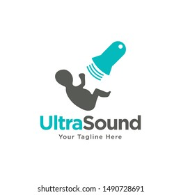 Ultrasound diagnosis, ultrasound machine and sonogram, logo design. Medical research, gynecology clinic, polyclinics, obstetrics and hospitals, vector design and illustration