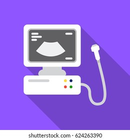 Ultrasound diagnostic icon in flat style isolated on white background. Pregnancy symbol stock vector illustration.