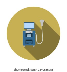 Ultrasound Diagnostic Machine Icon. Flat Circle Stencil Design With Long Shadow. Vector Illustration.