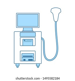 Ultrasound Diagnostic Machine Icon. Thin Line With Blue Fill Design. Vector Illustration.