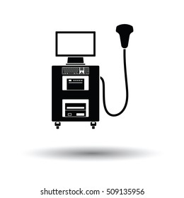 Ultrasound diagnostic machine icon. White background with shadow design. Vector illustration.