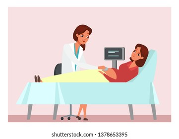 Ultrasound diagnostics flat vector illustration. Pregnant woman at gynecologist, obstetrician appointment. Female patient and doctor cartoon characters. Medical examination, testing, check-up
