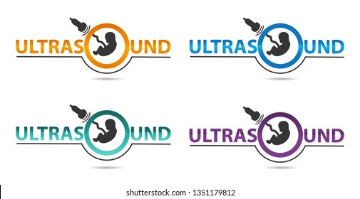 Ultrasound diagnostics logo in four colors. Medical research, gynecology clinic, polyclinics, obstetrics and hospitals, vector design and illustration