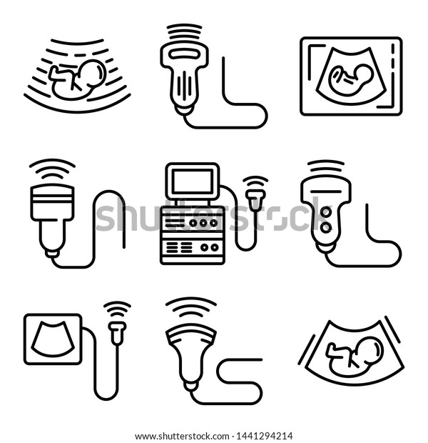 Ultrasound icons set. Outline set of ultrasound vector icons for web design isolated on white background